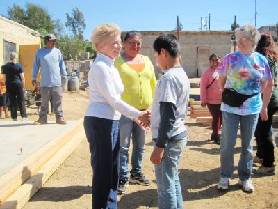 Shaking hands with Mexican resident on mission trip