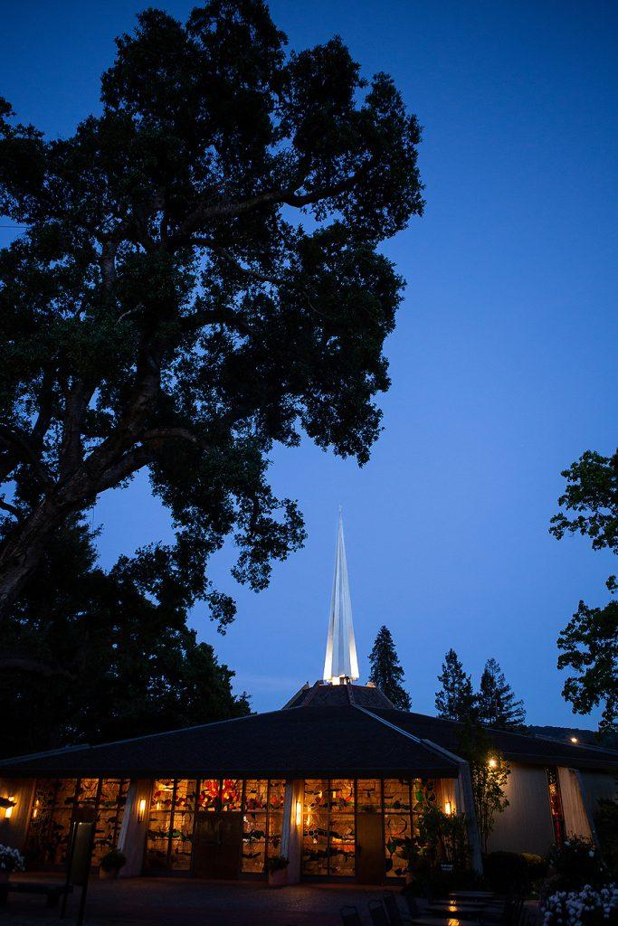 LGUMC evening photo of sanctuary and spire