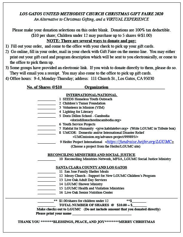 2020 Christmas Faire order blank